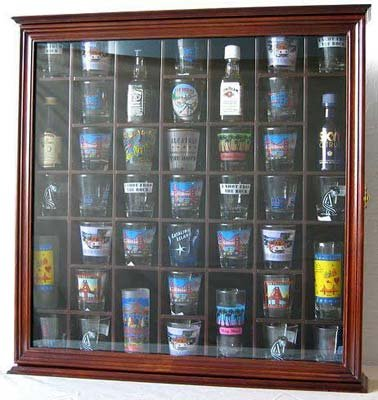 - 41 Shot Glass Display Case Holder Cabinet Wall Rack with Glass Door (Walnut Finish)