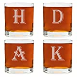 Cheap 4 Piece Custom Engraved Set-Mix and Match Monogram Whiskey Glass Set- Choose any Letter for each Glass
