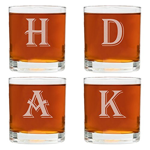 4 Piece Custom Engraved Set-Mix and Match Monogram Whiskey Glass Set- Choose any Letter for each Glass -