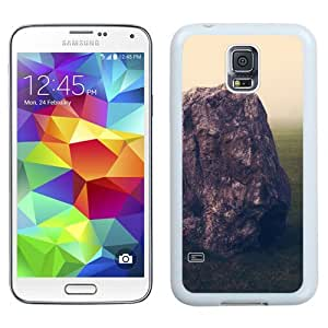 Easy use Cell Phone Case Design with Grass Field Brown Rock Galaxy S5 Wallpaper in White