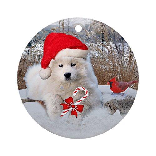 - CafePress - American Eskimo Christmas Sce Ornament (Round) - Round Holiday Christmas Ornament
