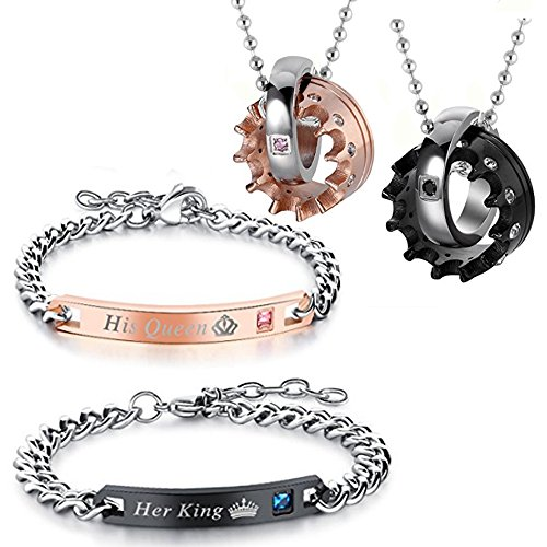 ets of 2 packs Couples Bracelets Necklace,Stainless Steel His Queen Her King Crown CZ Ring Bracelets,Necklace for Couples Christmas Valentines Day Gifts,with Gift Bag ()