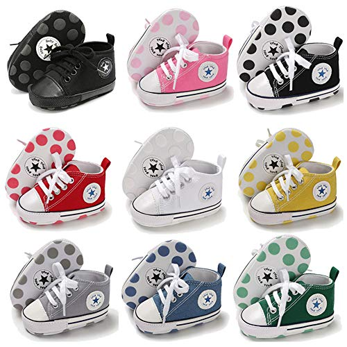 TIMATEGO Infant Baby Canvas Shoes for Boys Girls Non Skid Soft Sole Toddler First Walker High-Top Ankle Sneakers Newborn Crib Shoes, 6-12 Months Infant, 04 White Baby Shoes