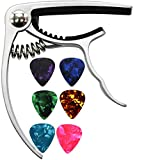 MELODIC Guitar Capo with 6 Free Guitar Picks for Ukulele Acoustic and Electric Guitars- Made of Zinc Alloy (Silver)