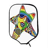 YOLIYANA Popstar Party Durable Racket Cover,Abstract Design in Rainbow Colors Art in Shape of Starfish Performer Woman for Sandbeach,One Size