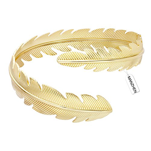MANZHEN Gold Plated Adjustable Swire Feather Upper Arm Bangle Cuff Bracelets Armband Armlet Bracelets (Gold)