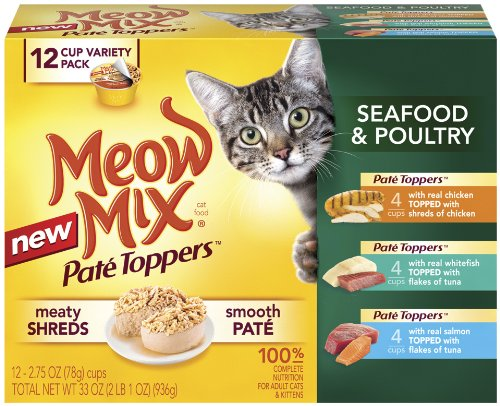 Meow Mix Pate Toppers Seafood and Poultry Variety Pack, 12-Count, My Pet Supplies