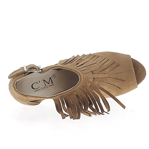 Low-boots camel ouverts à talon de 10cm aspect daim avec franges