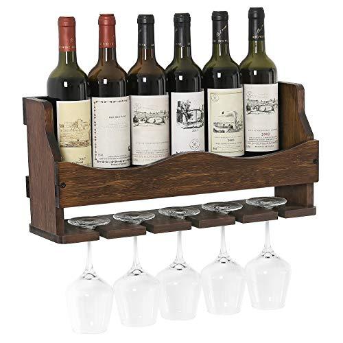 (SONGMICS Wall-Mounted Wine Rack, Bamboo Bottle and Glass Holder, Holds 6 Bottles, 5 Glasses, Walnut Color UKWR11WN)