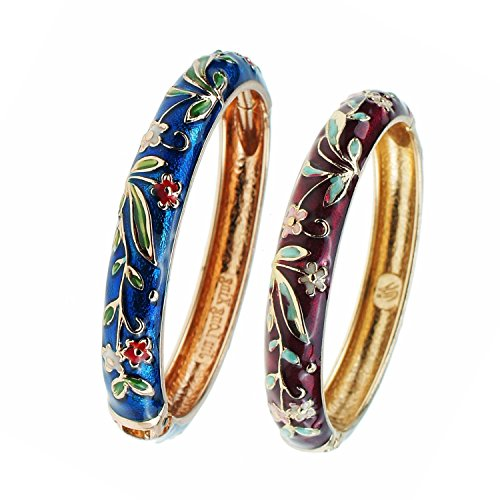 UJOY Bangle Bracelets Sets Gold Plated Flower 60mm for Women Gift Jewelry Box 55A119-2