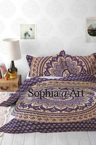 Indian The Passion Gold Ombre Tapestry Cover Indian Mandala Wall Art,Duvet Cover Hippie Wall Hanging Doona Duvet Cover Bohemian With Pilow Cover (King, Blue&golden)