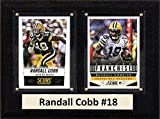 """NFL Green Bay Packers Randall Cobb Two Card Plaque, 6"""" x 8"""", Brown"""