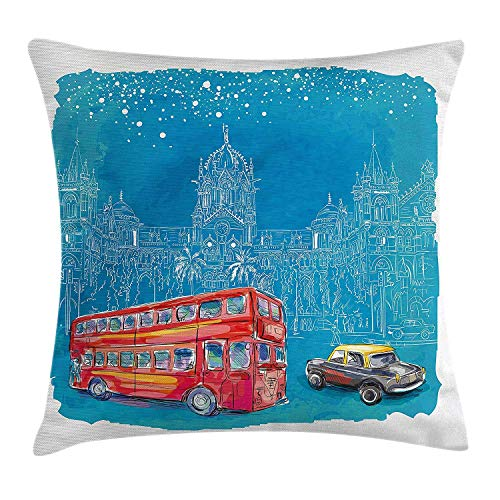 Modern Throw Pillow Cushion Cover, Double Decker Red Bus and Car Before Medieval Mumbai Architecture Watercolor, Decorative Square Accent Pillow Case, 16 X 16 Inches, Violet Blue Grey -