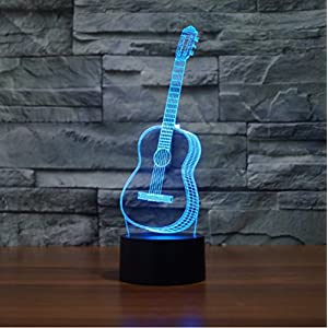 3D LED Night Light, EONSMN Three-Dimensional Optical Illusion 7 Color Changing Touch Table Lamp for Children Bedroom Home Decoration (Guitar)