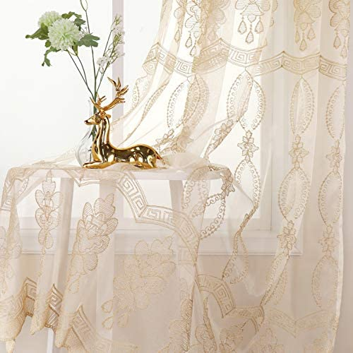 Jiyoyo Embroidered Lace Sheer Curtain for Parlor Window Curtain Treatment Rod Pocket Drape Panel Voile Living Room 1 Panel, W52 x L102 inch, Beige Bottom Silve intetwined Yellow Threads Embroidery