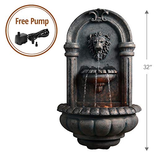 Peaktop - Outdoor Royal Lion Head Wallfall Fountain w/ LED Light