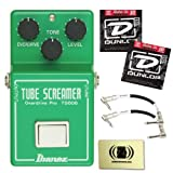 Ibanez TS808 Vintage Tube Screamer Reissue Bundle with Custom Designed Zorro Sounds Instrument Cloth, Two Dunlop DEN-1046 Nickel Plated Steel Guitar Strings (Medium, 10-46) and Two Patch Cables