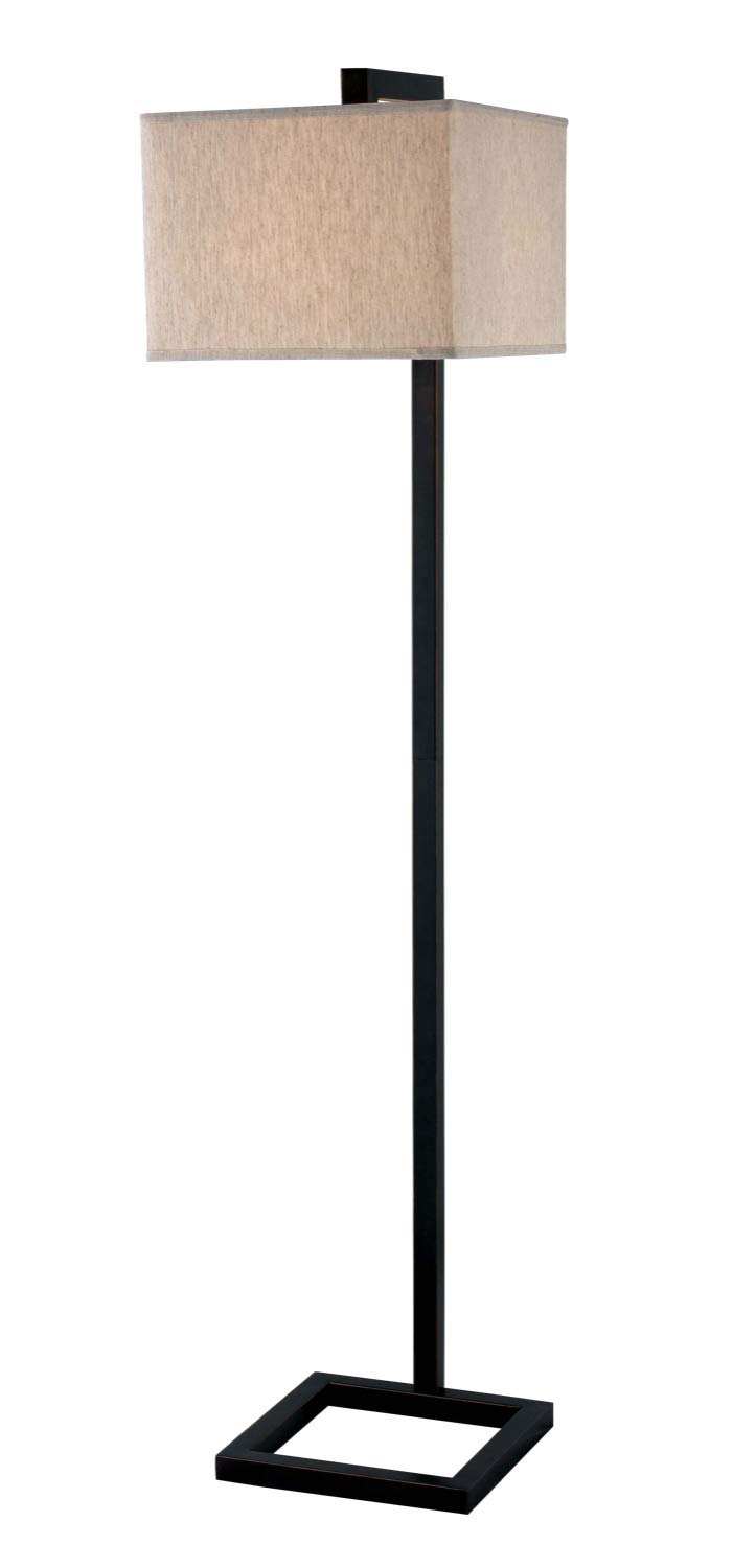 Kenroy Home Modern Floor Lamp, 64 Inch Height, Oil Rubbed Bronze Finish, Contemporary Tan Square Fabric Shade