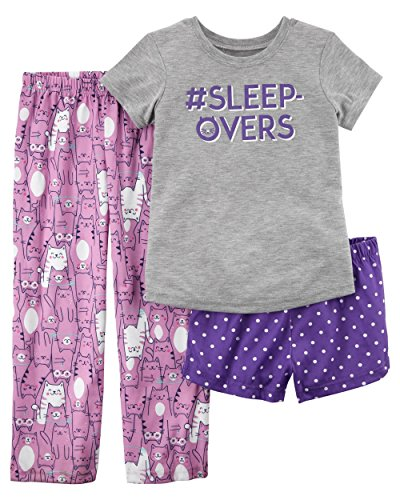 Carter's Girls' 3-Piece Jersey Pajamas Set 12M-14 (7, Purple/Kitty) ()