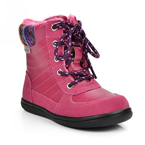 Picture of Sunny&Baby Girls High Top Boot PU Leather Upper Lace up Closed Spring/Autumn Kids Shoes Abrasion Resistant (Color : Pink, Size : 9.5 MUS Toddler)