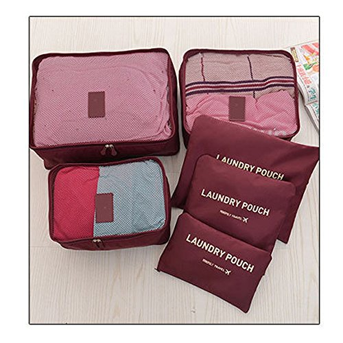 Wine Accessories Mix (Packing Cubes Travel Organizer, Tune Up Mesh Bags Value Set for Durable 6 Piece Weekender Set (Wine)