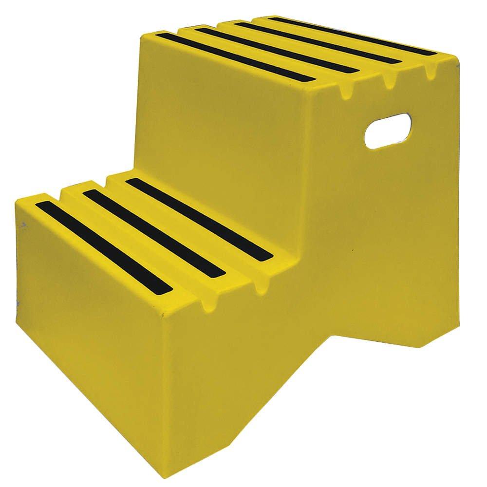 Step Stand, 2 Steps, Polyethylene, Yellow