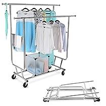 LANGRIA Zusammenklappbar Kleiderständer Rollbar Garderobenständer mit 2 VerstellbareKleidertange, 4 Omnidirektionalen Rädern, Halten bis 250 lbs (55,1 bis 65,0  H x 50,4-74,0  W x 21.7  D), Chrom-Finish