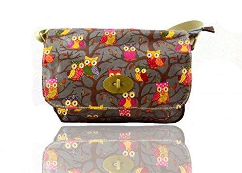 Bags Oilcloth Single twist mini Satchel pocket Printed Owl lock Closure Grey HqwdzFw