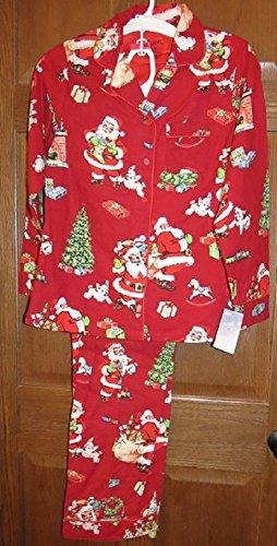 Nora Santa (Nick & Nora Women's Classic Santa Christmas Flannel Pajamas 2 pc Red Medium)
