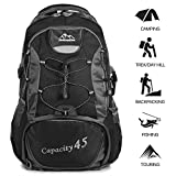 TTWO Hiking Backpack Outdoor Sports 45L Lightweight Packable Mountaineering Daypack for Camping Traveling Climbing (Black) Review