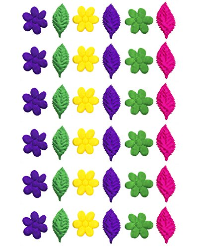 HAND Colourful Brocade Padded Satin Flower and Leaf Applique Trims 30-60mm Pack of 40