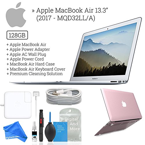 Apple 13.3'' MacBook Air, 128GB SSD, 1.8GHz Intel Core i5, 8GB RAM, MQD32LL/A [Mid-2017 - Newest Version] + DigitalAndMore Microfiber Cleaning Cloth + Hard Case & Keyboard Cover - Rose Gold by DigitalAndMore