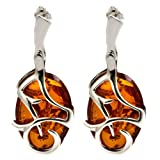 Honey Amber Sterling Silver High Quality Oval Earrings