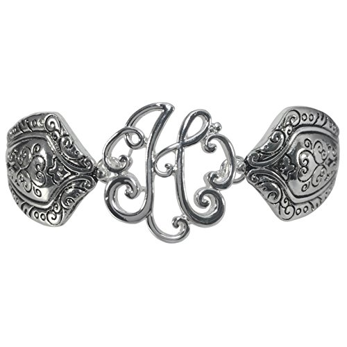onogram Initial Silver Tone Magnetic Clasp Bracelet (Letter H) (Monogram Initial Bracelet)