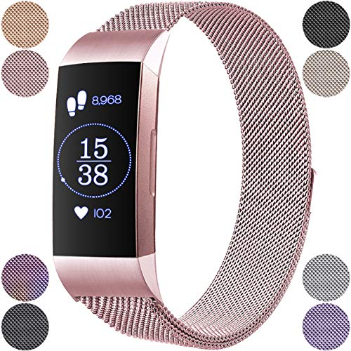Wepro Metal Bands Compatible Fitbit Charge 3 & Charge 3 SE for Women Men, Mesh Milanese Stainless Steel Magnetic Band Replacement Accessories Bracelet Straps with Unique Magnet Lock Small Large