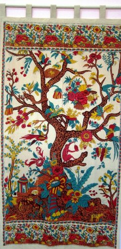 Tree of Life Tab Top Curtain-Drape-Door Panel-Cream by India ()