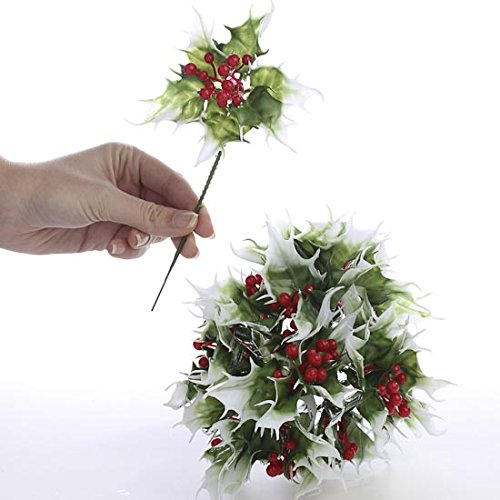 Factory Direct Craft Group of 24 Vinyl Artificial Green and White Holly Picks with Festive Red Berry Centers for Holiday Decorating and Embellishing