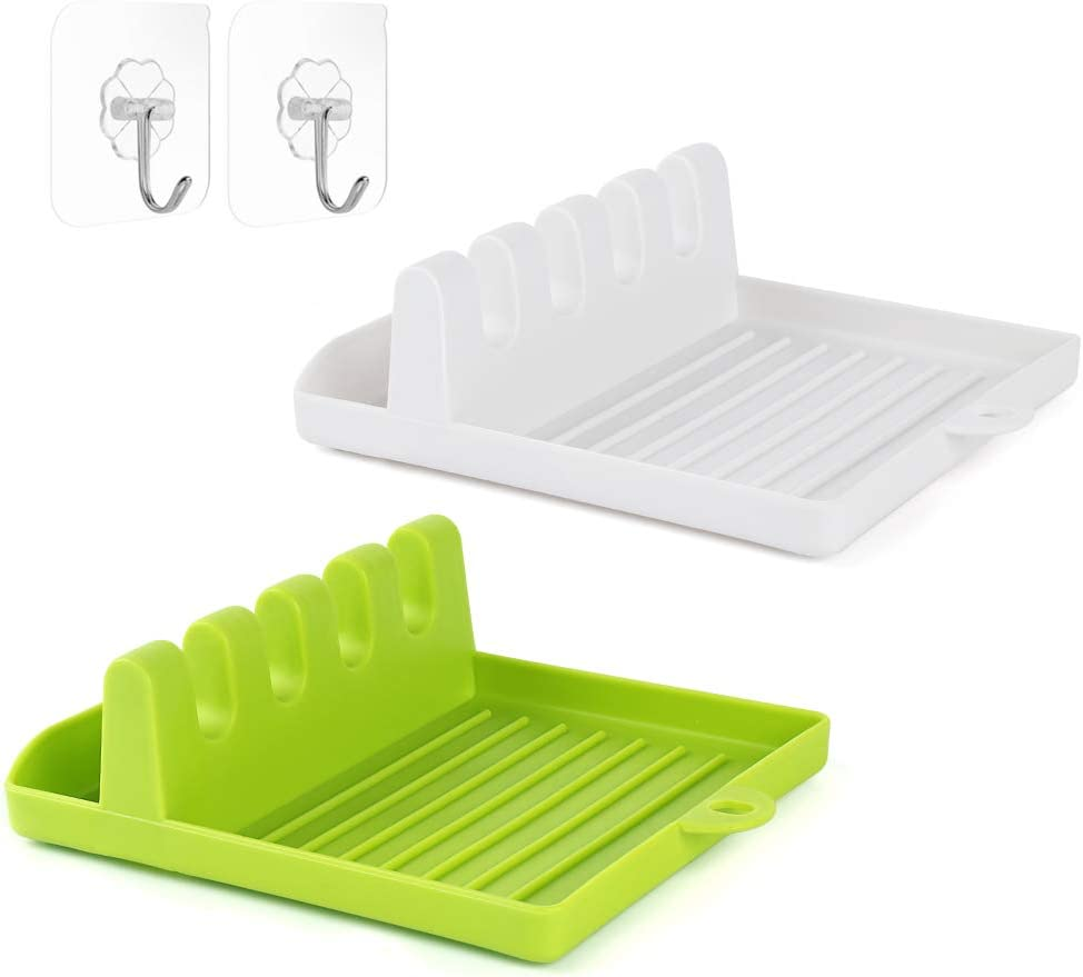 Kitchen Utensil Rest with Drip Pad, 2-PCS Spoon Rest for kitchen with Hanging Design, Spoon Holder for Stove Top, Kitchen Utensil Holder for Ladles, Tongs & Lid Storage (White & Green)