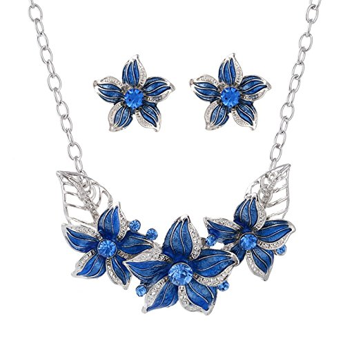 1set Silver Plated Austrian Crystal Enamel Flower Jewelry Sets Women African Costume Sapphire Jewelry Maxi Necklace Earring Set - Blue
