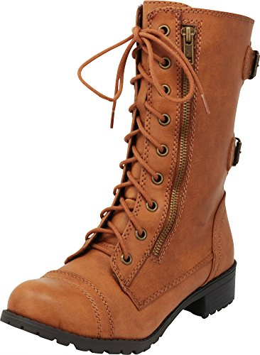 Cambridge Select Women's Lace-Up Round Toe Buckle Zipper Chunky Heel Combat Boot,8.5 B(M) US,Tan Pu