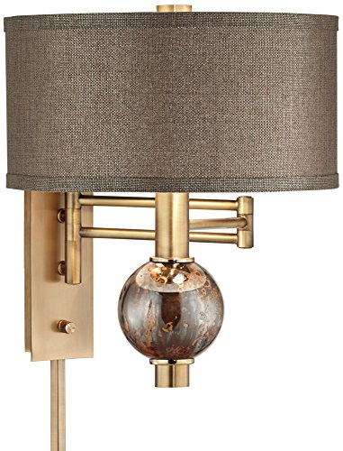 Richford Brass Plug-In Swing Arm Wall Lamp with Dimmer by 360 Lighting