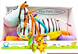 Bawi Toys - My Little Zebra Ma'sh(Tiny Version), Washable Animal Doll to Encourage Sense Development, 4 in 1(Rattle, Little Dolls, Rustle Accessories, Baby Safe Mirror)