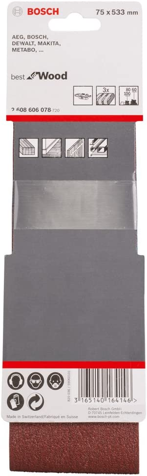 Lot de 10 bandes de ponceuse 533 x 75 mm gewebeschleifband feuilles abrasives grain 120