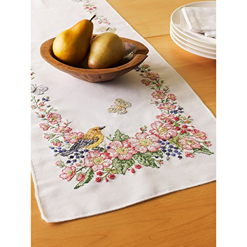Bucilla Stamped Cross Stitch Table Runner , 46076 Butterfly