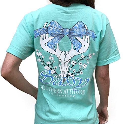 Southern Attitude Dogwood Sassy Sea Foam Green Bow Tie Deer Skull Preppy Short Sleeve Tee Shirt (X-Large)