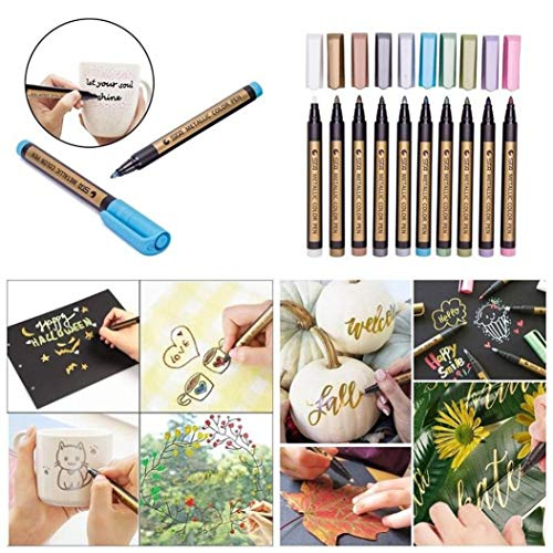 Metallic Marker Pens, Creazy 12 A2PC Metallic Markers Paints Pens Art Glass Paint Writing Markers DIY Card Making by Creazy (Image #2)