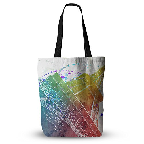 KESS InHouse Everything Tote Bag 18X18 Nika Martinez Paris Je T'Aime Watercolor, Multicolor, One Size