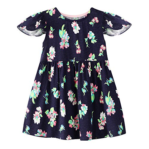 Toddler Girls Cotton Dress Floral Ruffle Skirt Cute Clothes for Kids 18 Months]()
