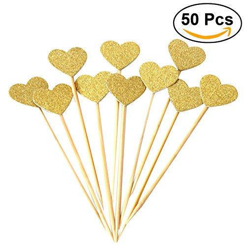 BESTOMZ 50pcs Heart Cupcake Toppers Gold Glitter Heart Large Cupcake Toppers Golden Wedding / Bridal / Baby Shower FEMIHGFJGUGD064