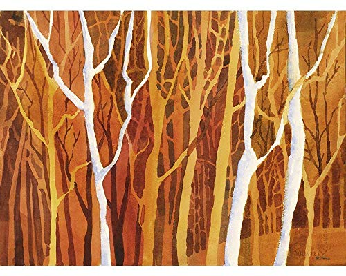 (Watercolor painting of trees silhouetted in forest during sunset. Watercolor landscape painting. Tree painting. Tree art (print))